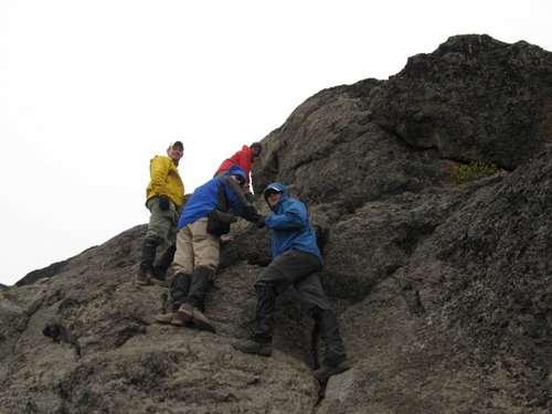 Greg, Tony, Sean and Hosea scrambling up the Lava Tower