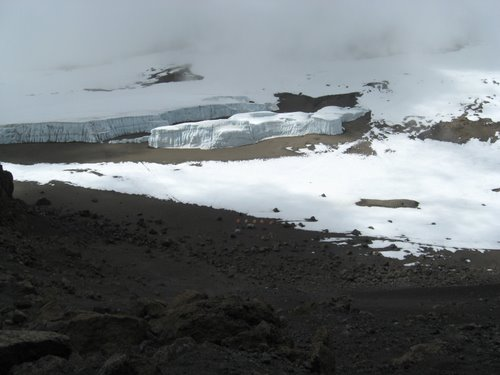 View from the summit, with our next campsite below in the crater